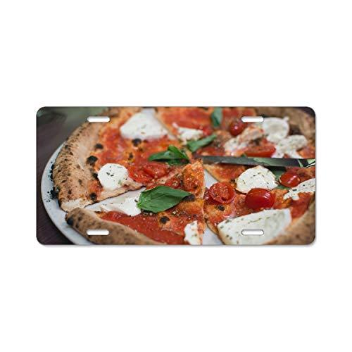 Elvira Jasper Pizza Tomato Mozzarella Basil Car License Plate Frame,Alumina License Plate -