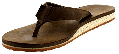 Leather Flops Flip Teva (Teva Men's Classic Premium Leather Flip-Flop, Dark Earth, 10 M US)