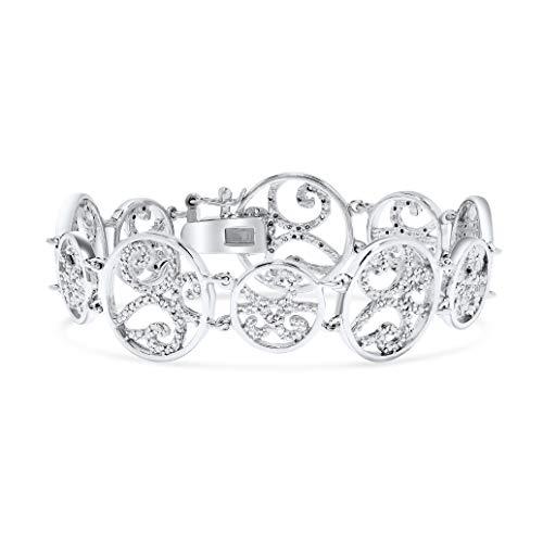 Diamond Circle Filigree Bracelet in .925 Sterling Silver
