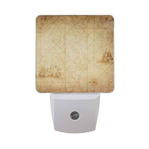 xiaodengyeluwd 2 Pack Pirate and Nautical Theme On Vintage Adventure Map Story Beige Design Auto Sensor LED Dusk to Dawn Night Light Plug in Indoor for Adults -