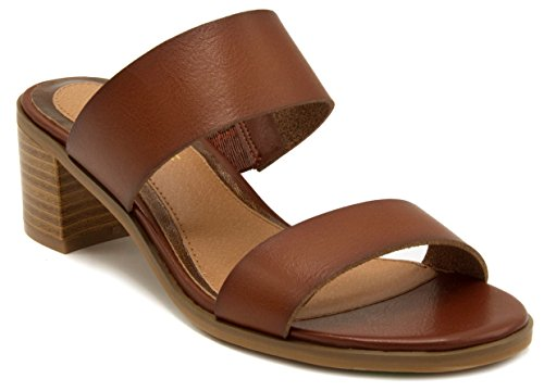 Rampage Women's Hatty Heeled Two Band Slide Sandal 8.5 Dark Brown (Heel Leather Sandal)