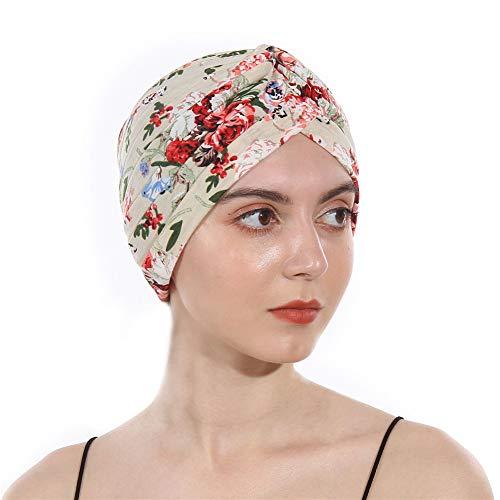 - DuoZan Women's Cotton Turban Elastic Beanie Printing Sleep Bonnet Head Wrap Chemo Cap Hair Loss Hat (Beige)