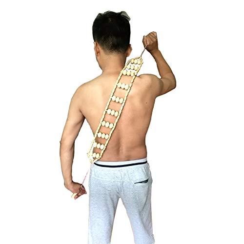 Full Body Massage Roller Rope-Portable Cordless Handheld Upper Lower Back Shoulder Foot Neck Trigger Point Node Rolling Balls 2nd Generation Self Massager Equipment Tool(3 Ball) (Wooden Roller Body)