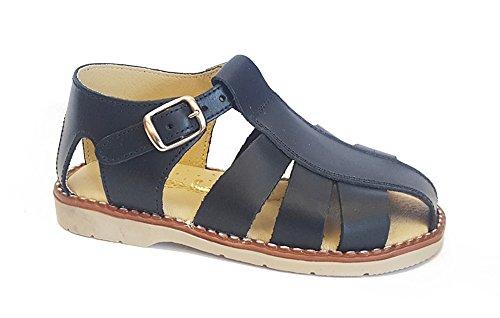 Sandale pour Enfant en bas âge en CUIR d'été, Bleu, Fabriqué en ESPAGNE (tailles 22 à 33)