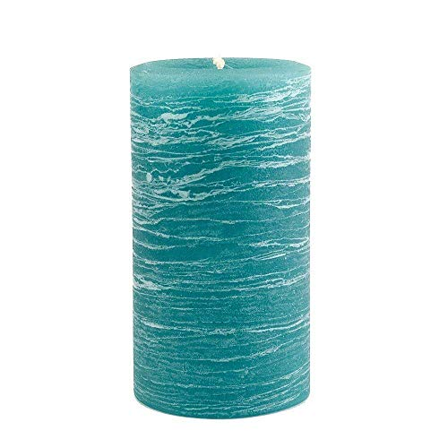 Nordic Candle - Rustic Pillar Candle - 3x6 Inch Teal - Unscented
