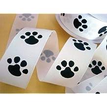 25 yards Grosgrain 1.5 inches Ribbon - Mini Dog Paw (R81-15White-Roll)