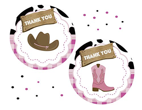 (Cowgirl Thank You Stickers 24pcs, Pink Western Favors Birthday Decoration Party Supplies, Girl Baby Shower Themed)