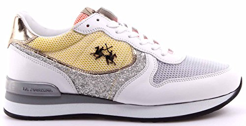 Double L3141257 LA Jam Sneakers Martina Italy Bianco Calf Mujer Argento Zapatos qwa78Ag