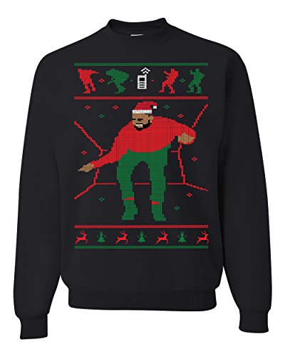 1-800 Hotline Bling Drake Red Ugly Christmas Sweater Unisex Crewneck Sweatshirt ( Black , Medium )