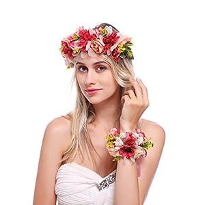 Floral Fall Floral Headband Daisy Rose Wedding Hair Wreath Rustic Bridal Headpiece Wrist Set HC-17 (Red Pink) 30