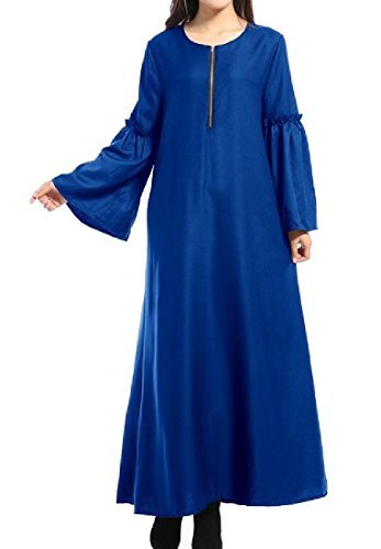 Coolred Royal Pure Flare Muslim Women Abaya Blue Color Round Dress Sleeve Neck vqvrw1tx