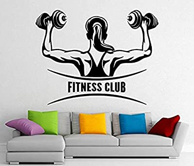 Fitness Club Logo Wall Decal Vinyl Gym Sports Sticker Wall Decor Removable Waterproof Decal (379SK)