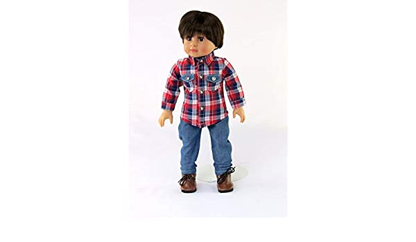 """Shirt Blue Jeans for 18/"""" American Girl boy or girl doll clothes"""