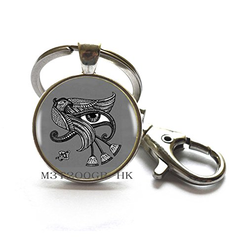 (Ancient Egypt Egyptian The Eye of Horus Key Ring Statement Silver Keychain for Women Dress Accessories-MT185 (W1))