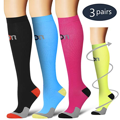 (Laite Hebe Compression Socks,(3 Pairs) Compression Sock for Women & Men - Best for Running, Athletic Sports, Crossfit, Flight Travel(Multti-colors6-S/M))