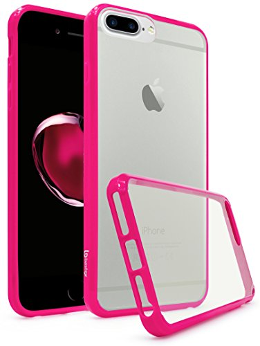 iPhone 7 Plus Case, Bastex Slim Fit Flexible Clear Transparent Rubber Back Cover Fused Hot Pink Side Bumper Snap Case for Apple iPhone 7 Plus / 7 Pro