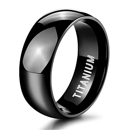 TIGRADE 8mm Black Titanium Ring Plain Dome High Polished Wedding Band Ring Comfort Fit Size 11