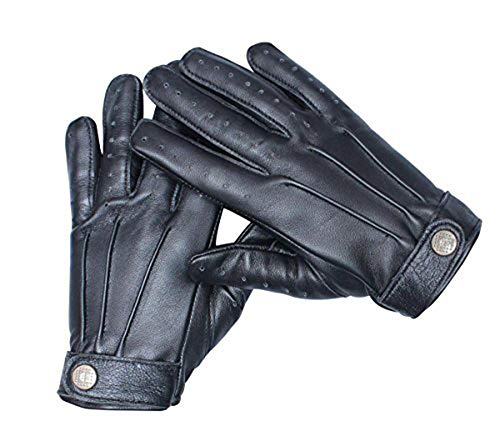 Black Leather Driving Gloves for Mens - Adult Cold Weather Winter Gloves (M)