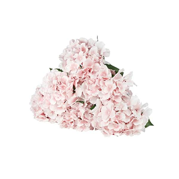 LuLuHouse Silk Hydrangea Heads with Stems Bulk Artificial Flower Heads Decorative Swags for Wedding Home Decor (Baby Pink, 10)