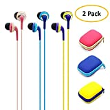 Wired Earbud Headphones, Sports Earphones for IOS/Android Smartphone, Laptops, Gaming, All 3.5 mm Interface Device, 2 Piece with Case (2)