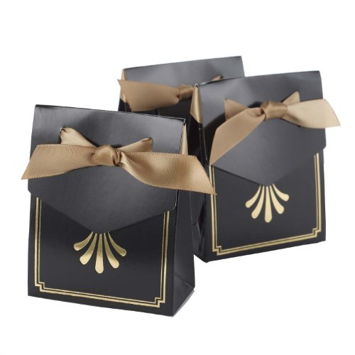 Hortense B Hewitt Art Deco Tent Favor Boxes, Black and Gold, 25-Pack