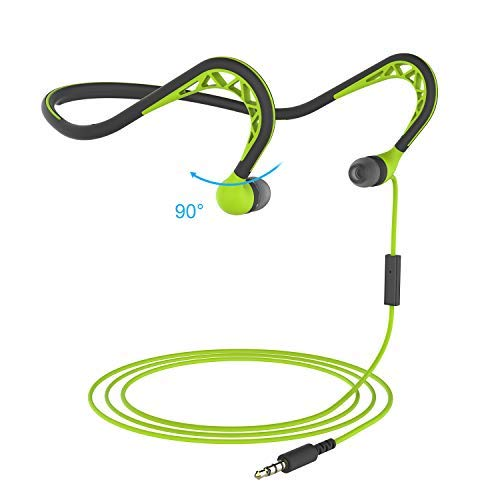 MUCRO Wired Headphones in-Ear Sports Headphones for Running, Behind The Neck Headphones, Stereo and Noise Isolating Earphones with Microphone, Sweatproof Earbuds Headphone, Green