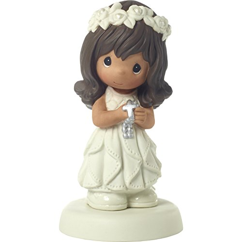 Precious Moments 172081 May His Light Shine in Your Heart Today & Always Brunette Hair Girl with Medium Skin Tone First Communion Bisque Porcelain Figurine One Size Multi