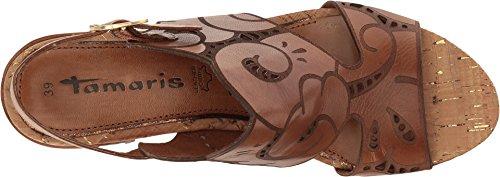 Tamaris 1-28383-38 Damen Sandalen Sandaletten Sommer Schuhe Pantoletten Damen Sandalette, Sommerschuhe für modebewusste Frau, Cognac (NUT) , EU 37 / US 6,5