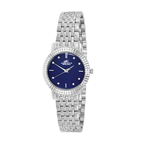 Adee Kaye Women's Pure 27.92mm Steel Bracelet & Case Swiss Quartz Blue Dial Analog Watch AK4801-LBU
