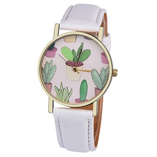 Wensltd Women Classy Cactus Pattern Plant Leather Band Analog Quartz Vogue Wrist Watch (White) (White Leather Quartz)