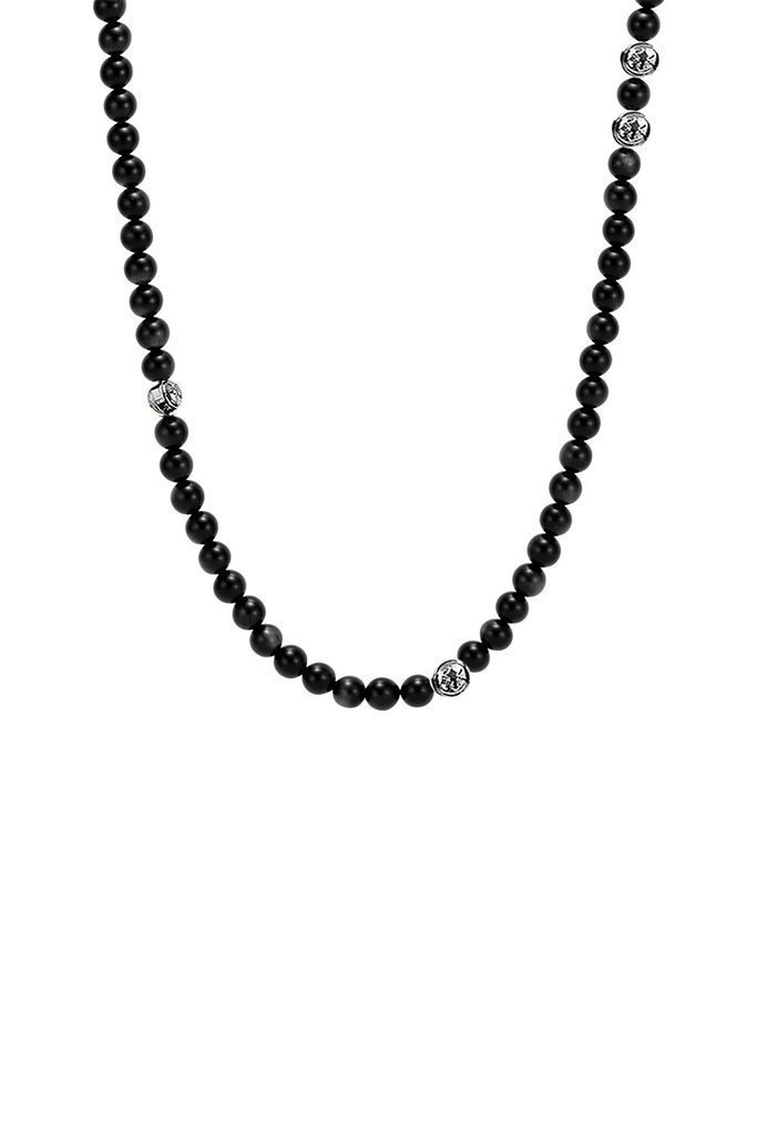 """Forziani SUMMIT Black Onyx Natural Stone Beads Mens Necklace – Zen Spiritual Buddhist Beaded Necklace for Men - Luxury Gift Packaging Included - 32"""""""