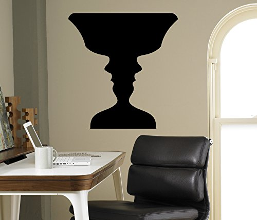 Faces or Vase Wall Vinyl Decal Optical Illusion Sticker Home Interior Art Decor Ideas Bedroom Living Room Office Removable Murals 2(oil)