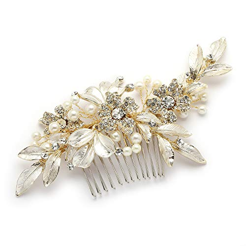 (Mariell Designer Gold Bridal Hair Comb with Hand Painted Silvery-Golden Leaves and Pave Crystals)