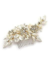 Mariell Designer Gold Bridal Hair Comb with Hand Painted Silvery-Golden Leaves and Pave Crystals