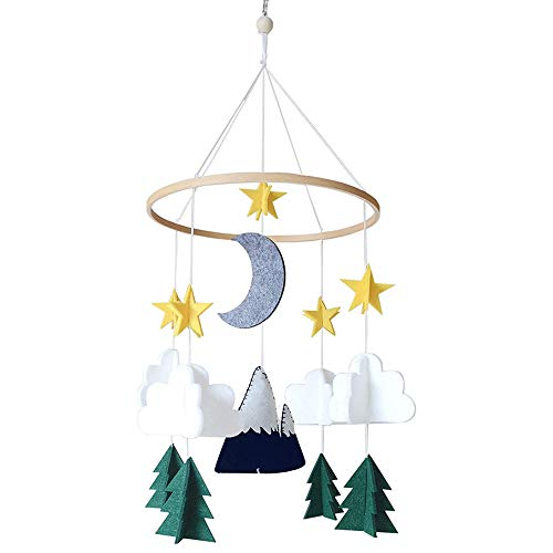 ZYS-hot1124 Crib Mobile Ornament Starry Woodland Night Nursery Hanging Decoration for Baby Room