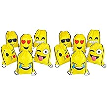 RIN Emoji Assorted Emoticon Party Favors Drawstring Backpacks, 24 Piece