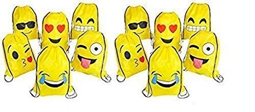 RIN Emoji Assorted Emoticon Party Favors Drawstring Backpacks, 24 Piece - Drawstring Favor