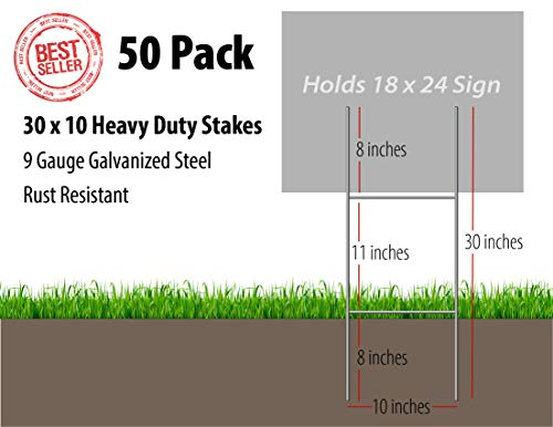Oversize Planner by ABI Digital Solutions H Frame Yard Sign Stakes -50 H Stake Outdoor Sign Holders - Pack of 50 Yard Stakes for Signs - Metal Sign Stakes by Oversize Planner by ABI Digital Solutions (Image #1)