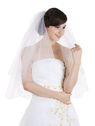 (2T 2 Tier Scallop Beaded Edge Bridal Wedding Veil - White Elbow Length 30
