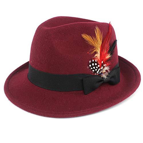 - Wool-Like Fedora hat Felt Hat Vintage Hats with Feather Wide Brim Gentleman Jazz Cap for Men Women