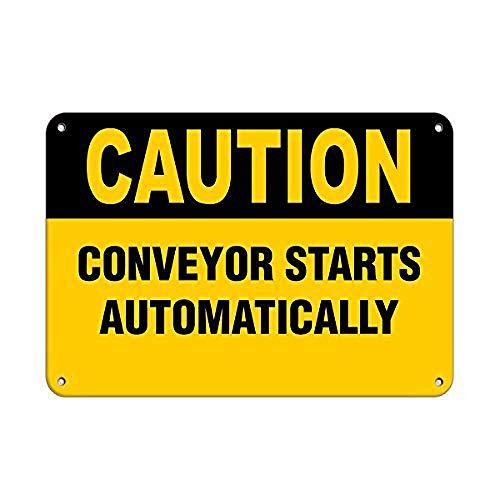 注意コンベヤーは自動的に危険ラベルを開始します 金属板ブリキ看板警告サイン注意サイン表示パネル情報サイン金属安全サイン