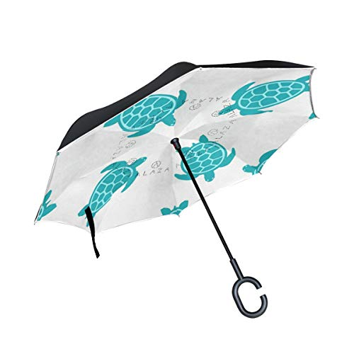 Reverse Umbrella Turtle Turquoise Windproof Double Layer Inverted Umbrella Anti-UV Protection with C-Shaped Handle for Car Outdoor Use