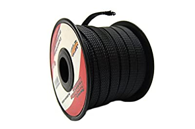 "Black 3/8"" 100 feet Expandable Braided Sleeving Flexible Flex Tech Wiring Loom"