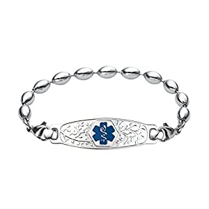 Divoti Deep Custom Laser Engraved Beautiful Olive Medical Alert Bracelet -Rice Bead Stainless -Deep Blue