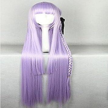 GSP-maravilloso super largo kniting púrpura peluca cosplay con cola de caballo cabello tejido sintético