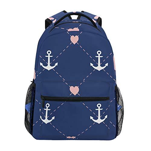 School Backpack Navy Anchor And Heart Bookbag for Boys Girls Travel Bag