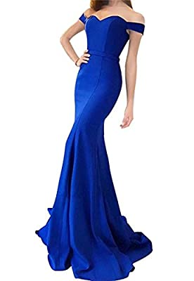 MJBridal Women's Sweetheart Long Mermaid Prom Dress 2018 Off Shoulder Wedding Evening Party Gowns