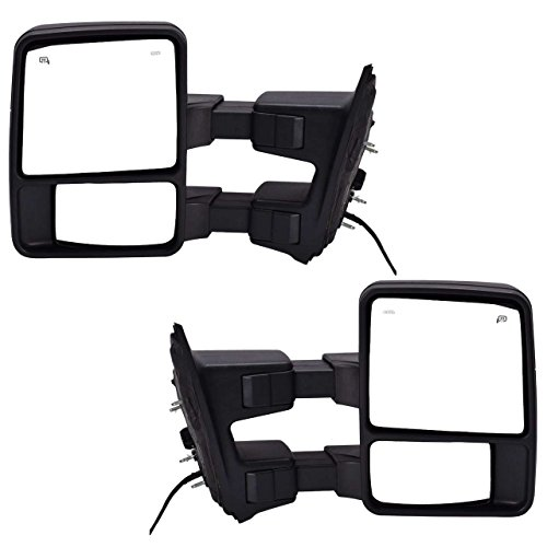 DEDC Pair 08-15 Ford Super Duty F250 F350 F450 Power Heated with Signal Light Towing Mirrors 2008 2009 2010 2011 2012 2013 2014 2015