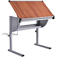 Tangkula Drafting Table Drawing Desk Adjustable Art & Craft Hobby Studio Architect Work (Yellow)