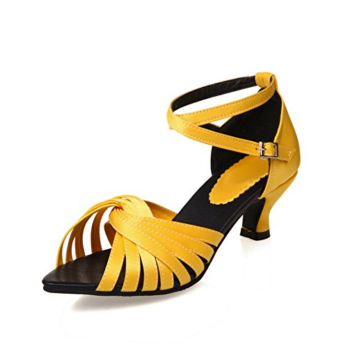 AN Womens Sandals Solid Kitten-Heels Urethane Sandals DIU00749 Yellow Oj8nN